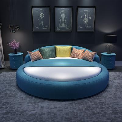 檀星星北歐式大圓床雙人現代公主臥室兒童女孩情侶圓形布藝簡約網紅婚床