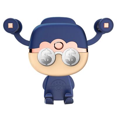 (蓝色)ZHUAX财神可爱车载手机架出风口车内车用车上支撑架汽车手机支架导航架创意重力感应万能通用财神爷塑料送礼