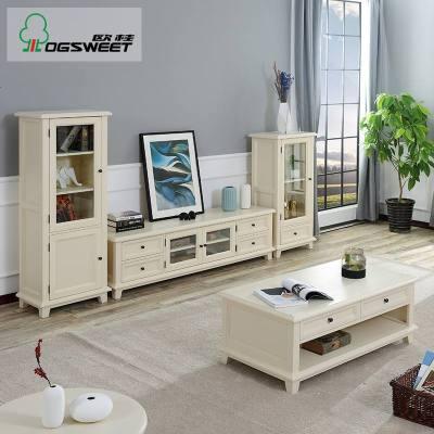 航竹坊 美式实木电视柜茶几组合套装客厅家用小户型现代简约北欧电视机柜