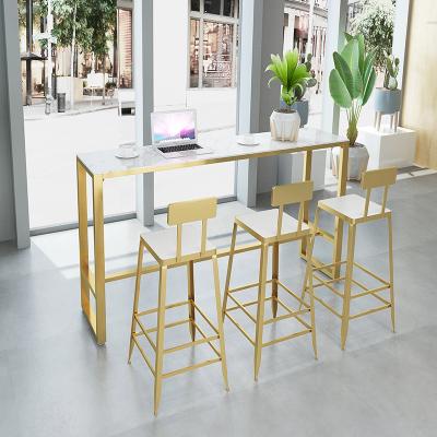 尋木匠北歐輕奢大理石吧臺桌簡約現代家用靠墻高腳桌椅組合鐵藝長條窄桌