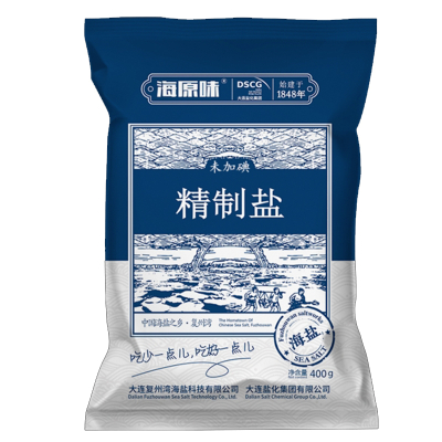 海灣無碘食用鹽天然海鹽家用無碘鹽不加碘食鹽巴精制無典鹽400g*6