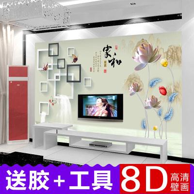 簡約田園3D客廳電視墻壁畫 沙發臥室背景墻紙壁紙自粘無縫墻布 英國皇家無縫絲綢布/每平方米