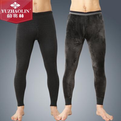 俞兆林加絨加厚全棉保暖褲男士超柔熱力絨雙層加大護膝秋褲打底褲