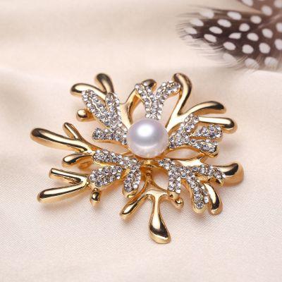 風下Hrfly 珍珠胸針 厚鍍金鑲鉆鹿角胸針胸花披肩 附高檔包裝
