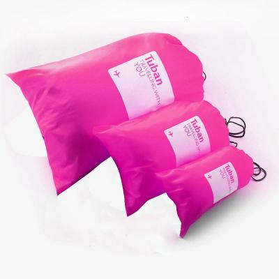 旅行出差用品收纳袋内衣收纳包防水鞋袋旅游分类整理杂物袋 三个装紫红色