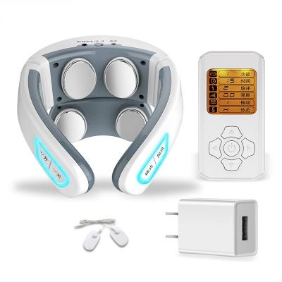鑫科頸椎按摩器頸部按摩儀脖子勁椎按摩枕肩頸熱敷理療智能護頸 升級四頭智能語音遙控款【HF-986A】+CQC認證家用充電