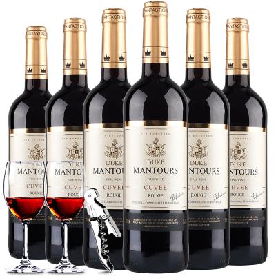 【法國原瓶】進口紅酒 曼妥思公爵干紅葡萄酒750ml整箱6支裝