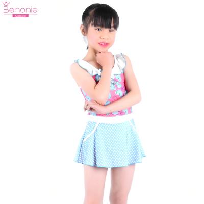 benonie6-10-14歲女童泳衣泳帽連體式公主裙泳衣中大童寶寶游泳衣
