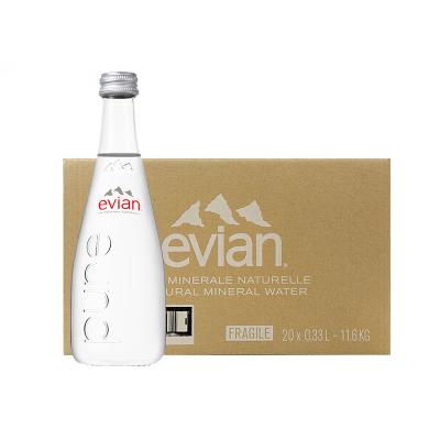 【欢乐颂安迪同款】依云(Evian) 天然矿泉水 330ml*20瓶/箱 玻璃瓶装 进口饮用水 矿物质水 法国进口
