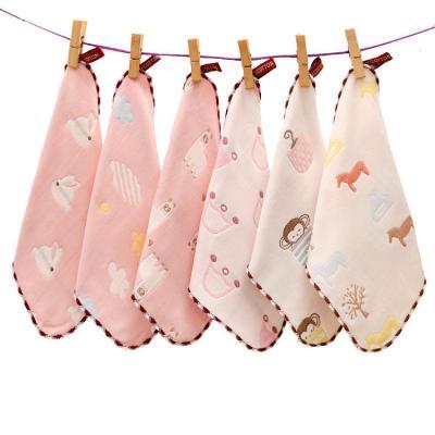 嬰兒口水巾6層純棉紗布洗臉巾毛巾寶寶兒童方巾洗澡毛巾手帕