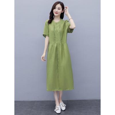 班俏BANQIAO棉麻連衣裙女夏裝2020年新款長裙寬松氣質減齡遮肚子顯瘦夏天裙子
