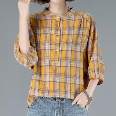 班俏BANQIAO襯衫女格子2020夏裝新款潮韓版寬松短袖休閑七分袖襯衣
