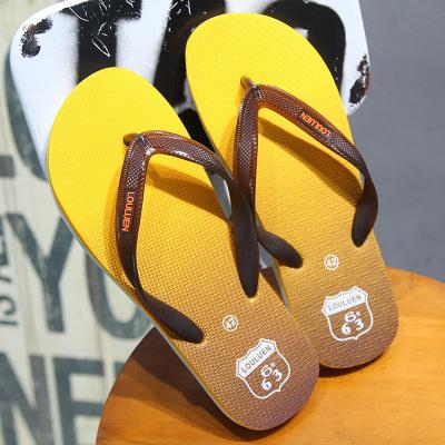 凡凱倫 2020夏季新款男士防滑休閑人字拖 夏季夾角拖鞋潮流簡約耐磨沙灘拖鞋夾拖漸變色桔黃色