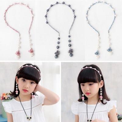漠悠洛女童甜美珍珠流蘇頭箍發帶假耳環發箍發卡子兒童發飾頭飾品