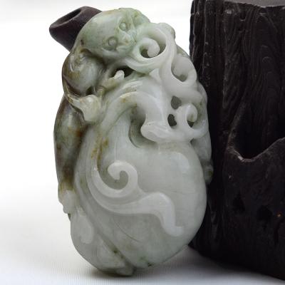 夢玉盈獨山玉貔貅手把件小擺件河南南陽玉石孤品重量約95.8g