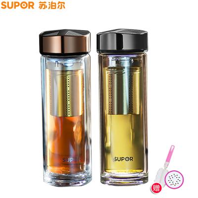 蘇泊爾(SUPOR)玻璃杯雙層便攜水杯380ml過濾帶蓋隨手杯男士商務辦公泡茶杯子玻璃杯KC38CP1