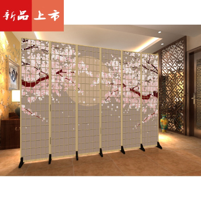 日式屏風和風櫻花仿木紋格子時尚客廳餐烤料理店折疊美容隔斷布藝 三維工匠