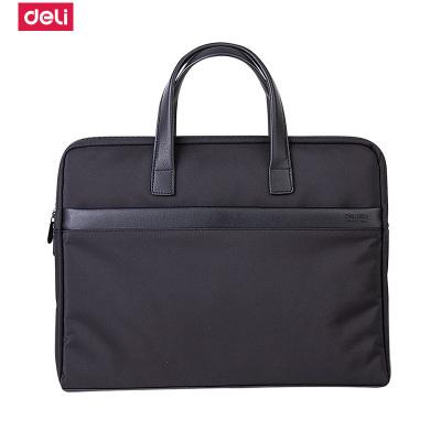 得力(deli)63751大容量便攜手提公文包帶拉鏈時尚辦公公文包 商務男女職業文件袋事務包 滌綸手提資料袋電腦包單個裝