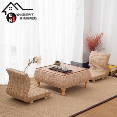 仙窩藤編飄窗桌簡約榻榻米可儲物實木小茶幾炕桌創意手工矮茶道桌