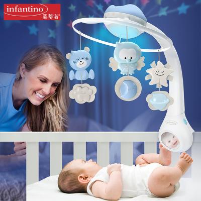 美国infantino婴蒂诺宝宝床头安睡音乐旋转投影-三合一梦幻床铃(蓝)男孩女孩益智玩具小夜灯