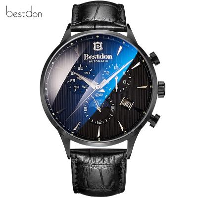 邦頓(Bestdon)手表男自動機械男士手表夜光時尚多功能藍光玻璃精鋼防水真皮帶男表 7116黑色