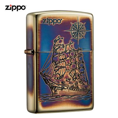 zippo之宝打火机美国原装ZIPPO防风煤油打火机一帆风顺-熏金 ZBT-3-182a