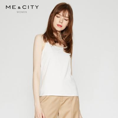 【1件3折价:28.8】MECITY女装针织纯色简约基本款打底莫代尔吊带背心上衣