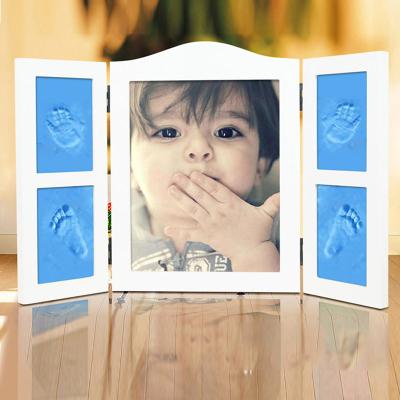 智扣宝宝手足印泥婴儿手脚印泥带玻璃罩三折五格