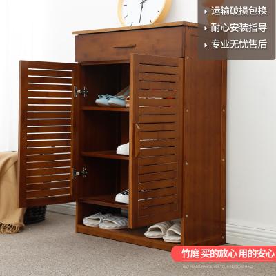 汐巖楠竹鞋柜多層儲物柜簡約現代多功能廳柜子大容量鞋架玄關柜