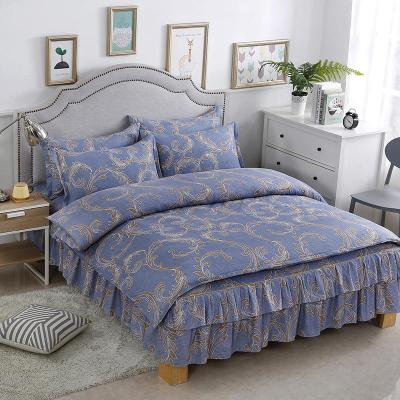 顧致 家紡床上用品歐美簡約風全套床裙磨毛四件套純色棉床單被套1.5/1.8/2.0m米床品套裝兒童學生