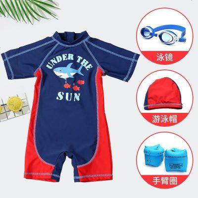 男童套装泳装防晒温泉速干宝宝小孩男生中大童小童儿童连体泳衣