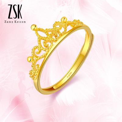 ZSK珠寶 黃金戒指女 足金女戒 999黃金女戒 小皇冠女士金戒指足金戒指 正品黃金飾品 送女友禮物(計價)
