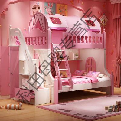 高低床雙層床兒童上下床女孩公主夢幻城堡床滑滑梯省空間 高低床+衣柜梯柜送2張床墊 1350mm*1900mm更多組合形式