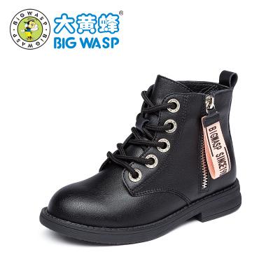 大黄蜂童鞋 儿童马丁靴儿童皮靴2019新款女孩加绒棉鞋女童公主靴