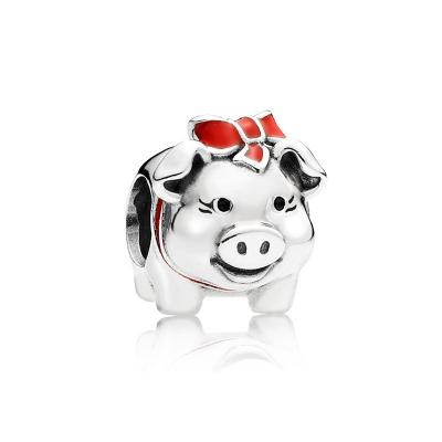 PANDORA潘多拉 红色蝴蝶小猪串珠 925银 791809ENMX