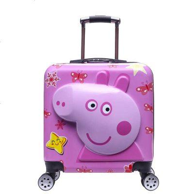 昆吾锋20寸3D小熊登机箱多颜色男女儿童拉杆箱旅行箱行李箱万向轮 花色 20寸3D粉猪