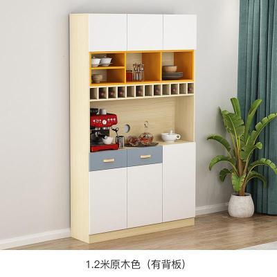 定制餐邊柜酒柜一體現代簡約柜子儲物柜客廳靠墻茶水廚房碗柜家用定制 1.2米E款/原木色(有背板) 6門以上