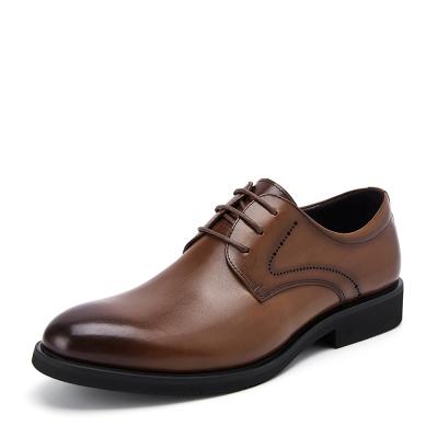 Belle/百丽男鞋豆豆鞋棕色头层牛皮(除牛反绒)商务风正装系带男士低帮皮鞋10822CM8