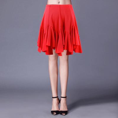 拉丁舞服下半身裙拉丁舞裙女交誼舞服裝新款春恰恰舞大擺半身裙練功服跳舞裙八月七