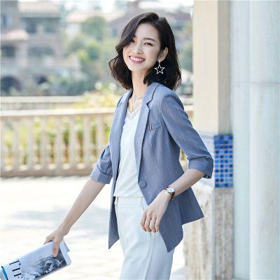 子沫雨JMOORY條紋七分袖小西裝女短款外套時尚百搭2020春夏新款韓版休閑薄款中袖西服