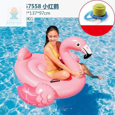 【精品好貨】成人游泳圈兒童坐騎游泳浮排加厚水上用品水上浮床充氣玩具 57558小紅鶴(承重100KG) 腳泵套餐