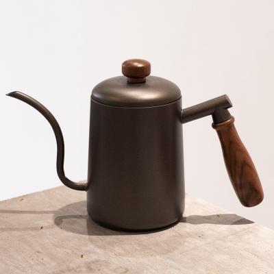 掛耳長嘴壺細口壺套裝帶溫度計防燙把手600ml時光舊巷咖啡壺 600ml黑胡桃木柄手沖壺