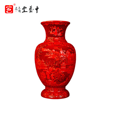 中藝盛嘉杨之新雕漆中式古典家居摆件灯笼瓶 中藝堂孤品收藏品送客户送朋友
