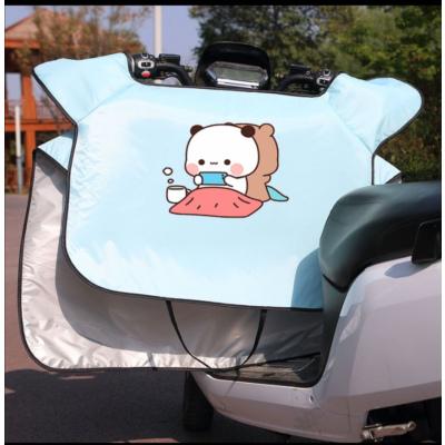 夏季遮陽被電動摩托車擋風被夏季薄款夜光電瓶車防曬擋風罩夏天電動車防風罩 藍色背靠背