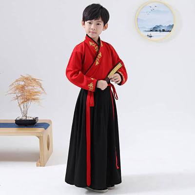 儿童汉服男童古装风演出服男孩国学服小书童民族风唐装演出服童装