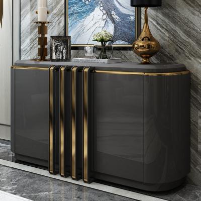 杞沐后現代玄關柜美式餐邊柜簡約裝飾客廳隔斷輕奢儲物柜烤漆廳柜