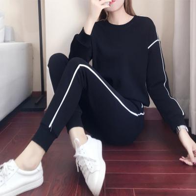 依魅人2020休閑運動衣套裝女秋季新款秋季韓版寬松衛衣 時尚兩件套