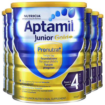 6罐裝 | 海外Aptamil 澳洲愛他美金裝 嬰幼兒配方奶粉 4段(24月以上)900g/罐 新西蘭原裝進口