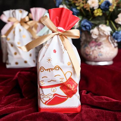 圣诞糖果袋 圣诞节新年束口袋抽绳袋雪花酥牛扎饼干袋糖果袋礼品袋50个05
