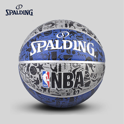 斯伯丁SPALDING篮球室外篮球83-176橡胶材质NBA涂鸦系列Blue七号篮球
